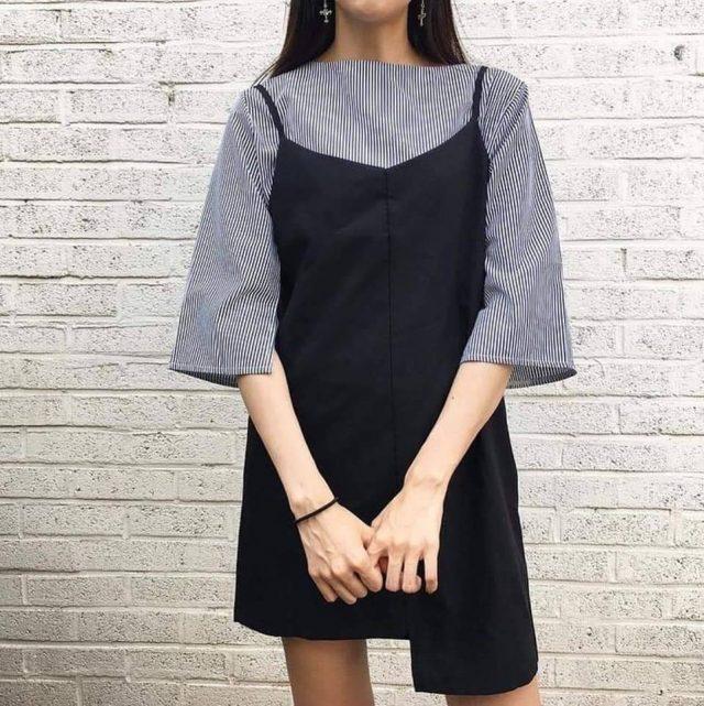 Mùa thu sắp tới các nàng đã chuẩn bị mix váy 2 dây với áo phông chưa?