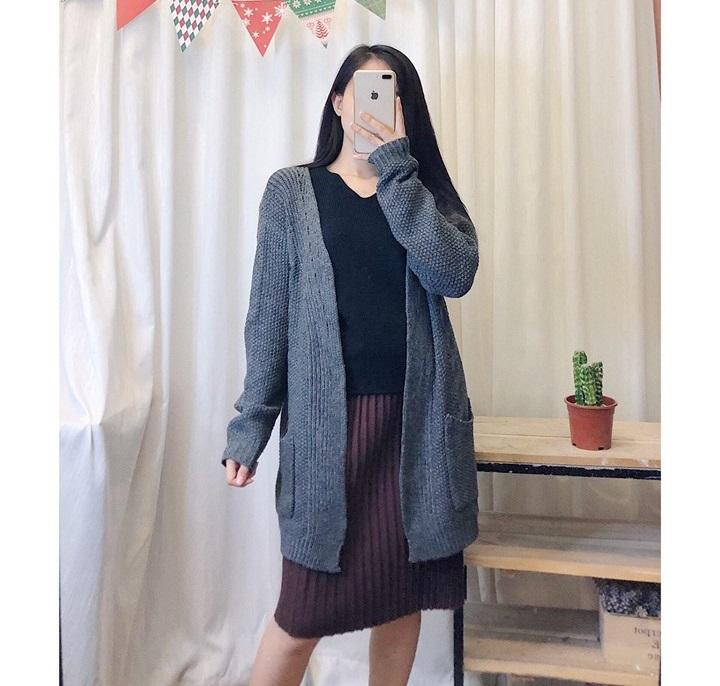 Áo khoác len dài không cổ vừa xinh vừa cá tính siêu hợp với mùa thu