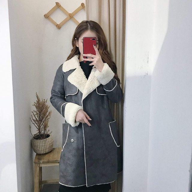 Áo khoác lông dáng dài cho các nàng diện mùa đông siêu đẹp