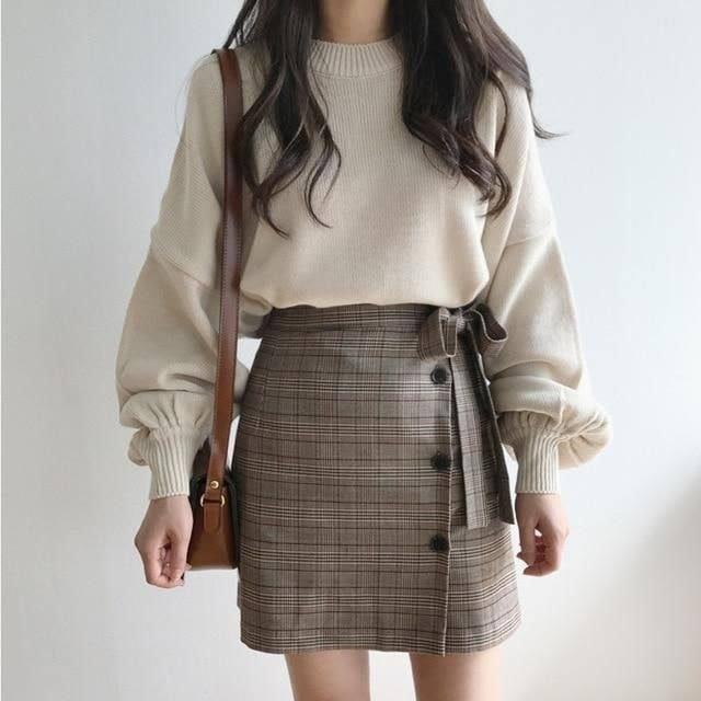 Mix áo len với chân váy kiểu nào cho xinh và năng động?