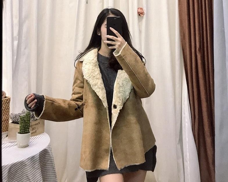 Sang chảnh chuẩn Hàn Quốc với áo khoác da lộn