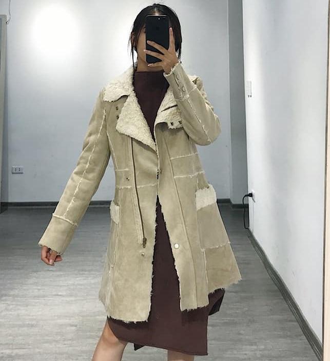 Áo khoác da lộn dáng dài cho nàng vừa ấm vừa sành điệu