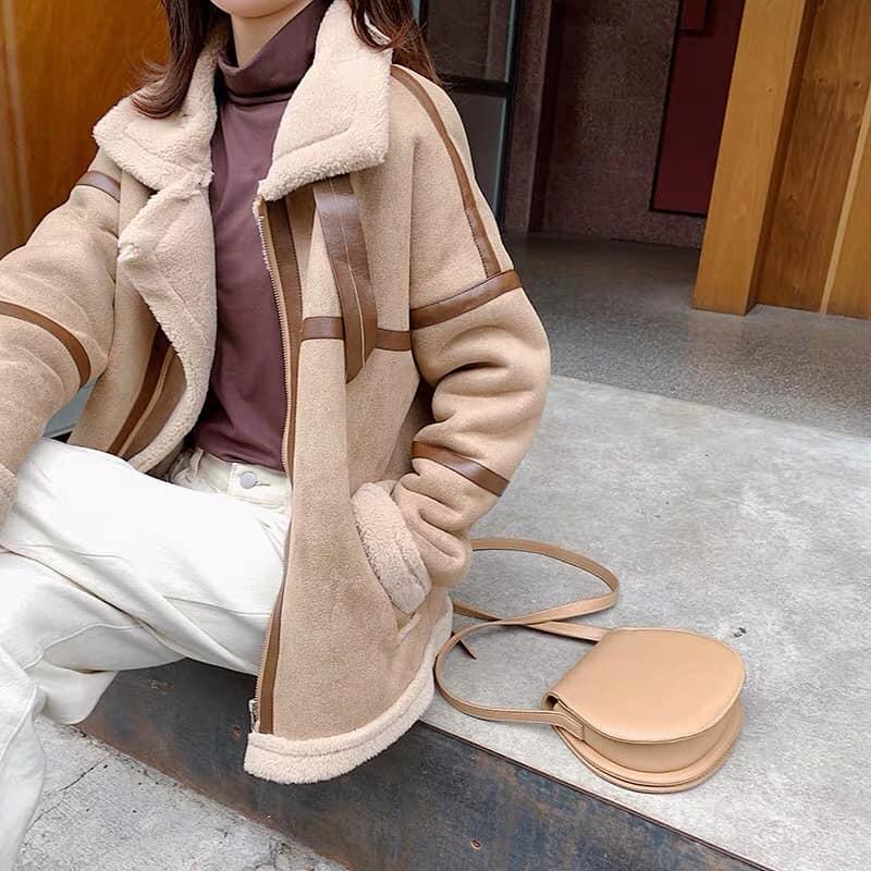 Áo khoác da lộn nữ - item xinh siêu cho các nàng ngày thu đông