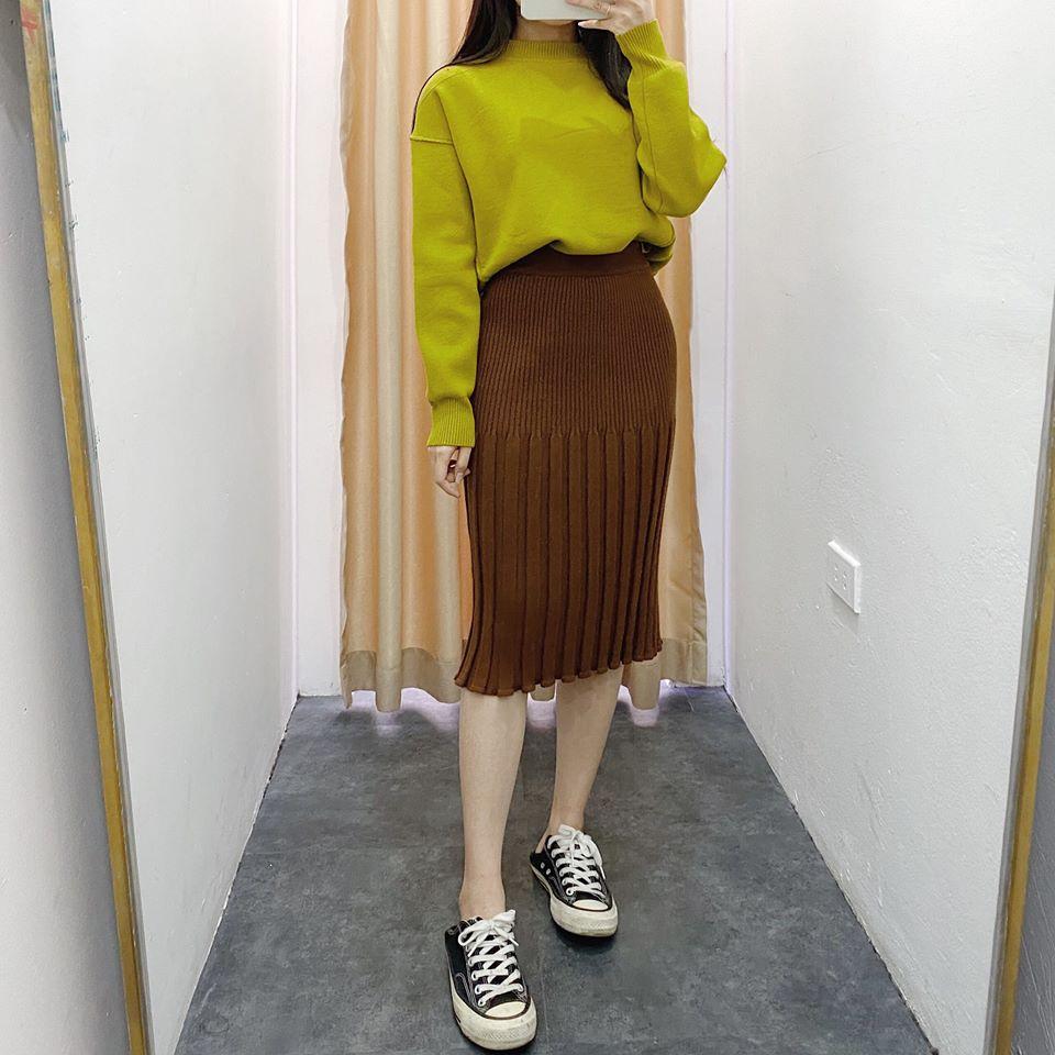 Chân váy len dáng dài mix cùng đồ gì cho thanh lịch và thời thượng?