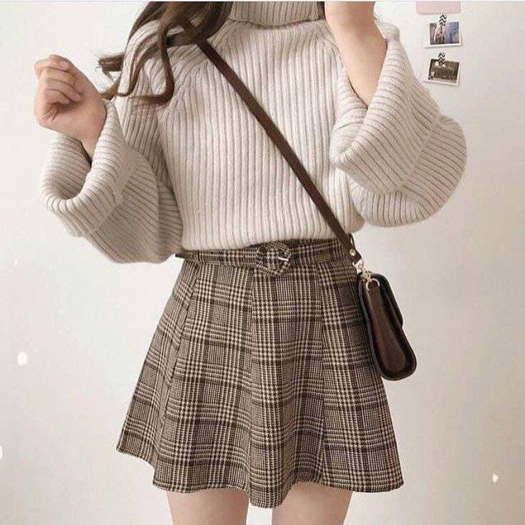 Mix áo dạ với áo len chuẩn phong cách Hàn Quốc