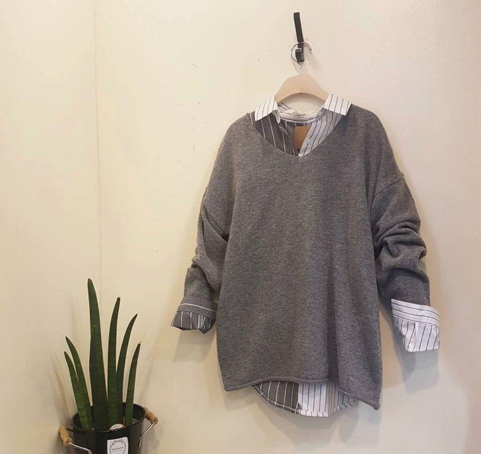 Mix sơ mi và áo len cho ngày tiết trời se lạnh siêu thích hợp với Min