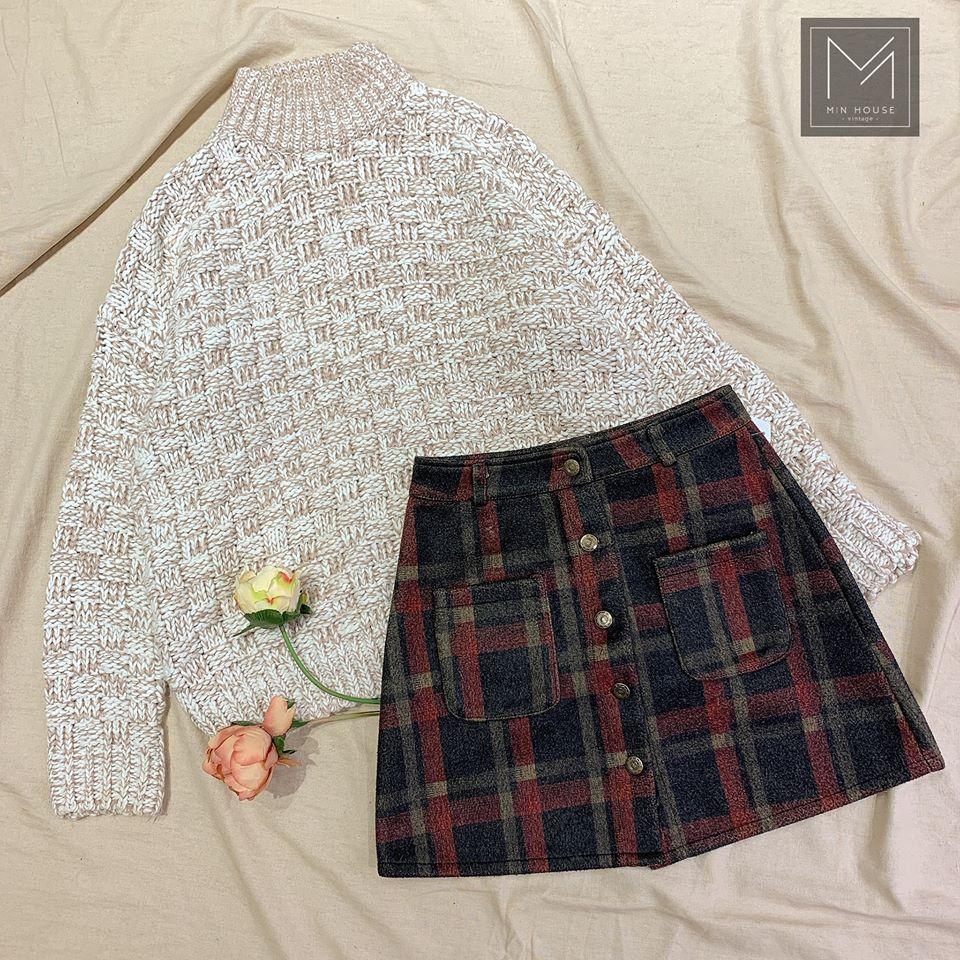 Áo len và chân váy mix siêu xinh trong mùa noel cho các nàng