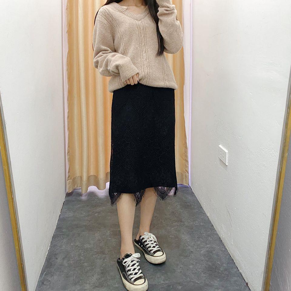 Chân váy len phối ren cho các nàng xinh và nữ tính trong ngày lạnh