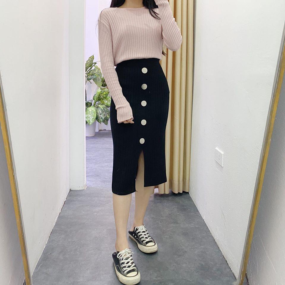 Mix chân váy len dài xẻ cùng item gì xinh hết nấc?
