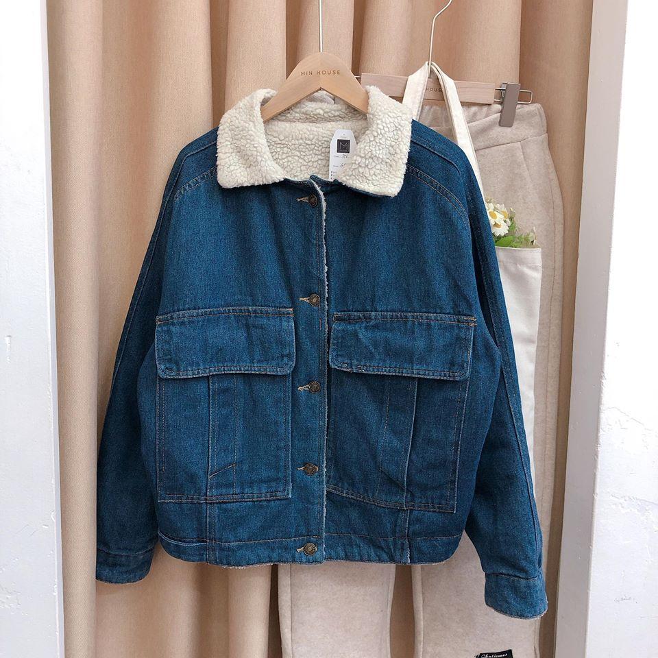 Áo khoác denim lót lông trẻ trung và ấm áp