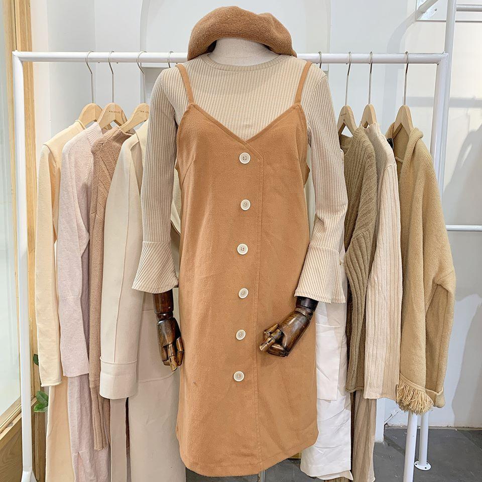 Diện váy yếm 2 dây siêu xinh chuẩn phong cách Hàn Quốc