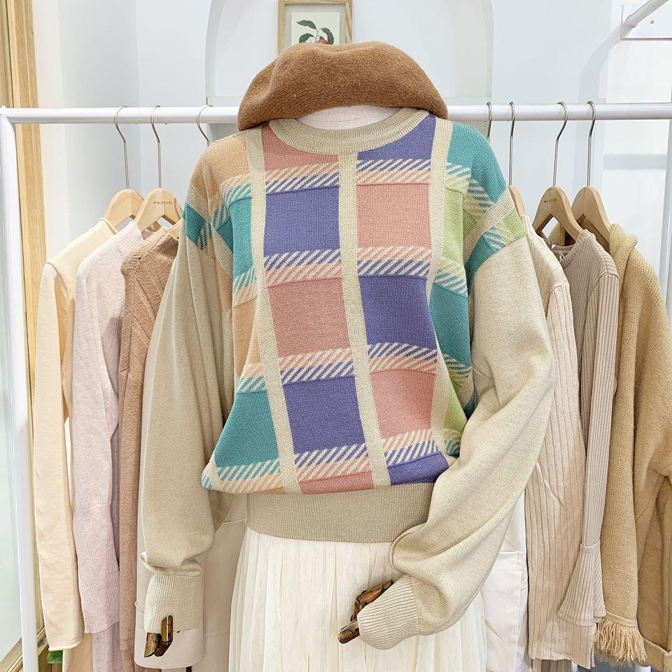 Mix áo len cổ tròn siêu xinh cho các nàng tham khảo