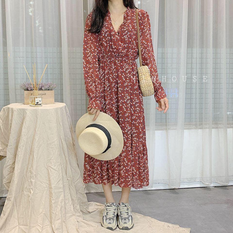 Nhẹ nhàng và nền nã với váy dài vintage hoạ tiết hoa nhí