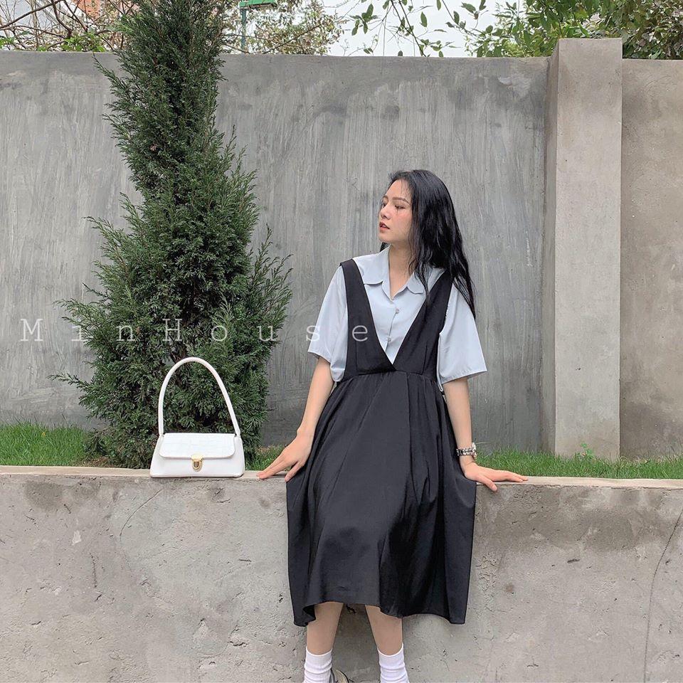Phối váy yếm với áo sơ mi: Tại sao không?