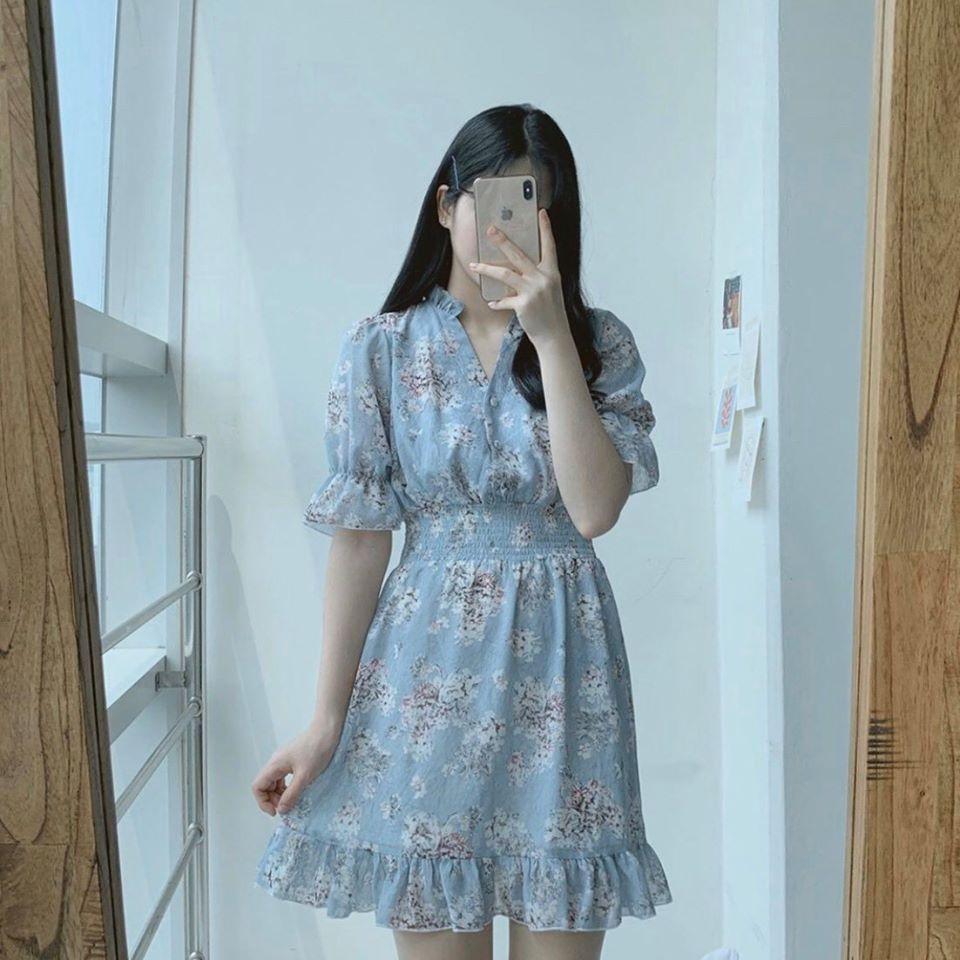 Mẫu váy hoa liền thân công sở tay ngắncho nàng trẻ trung ngày hè