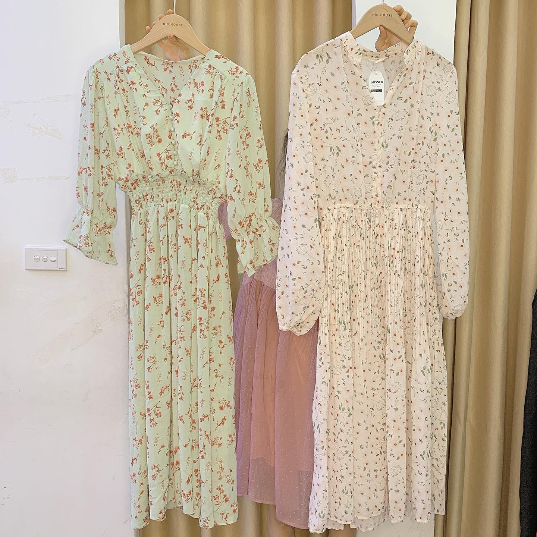 Váy hoa nhí dáng dài – cho nàng nữ tính, thanh lịch