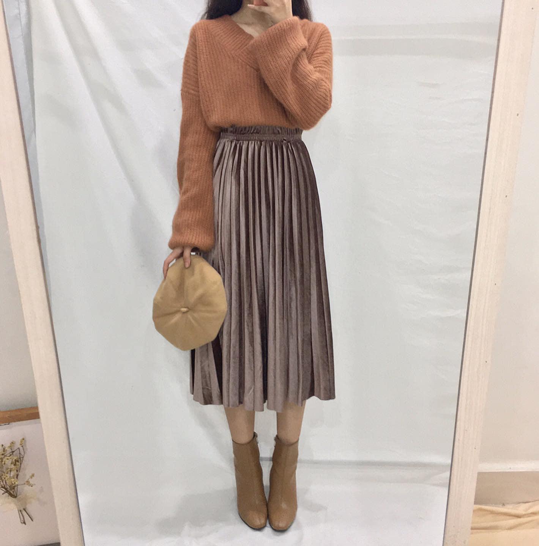 Chân váy dài xếp ly cho cô nàng mùa đông ấm áp và ngọt ngào