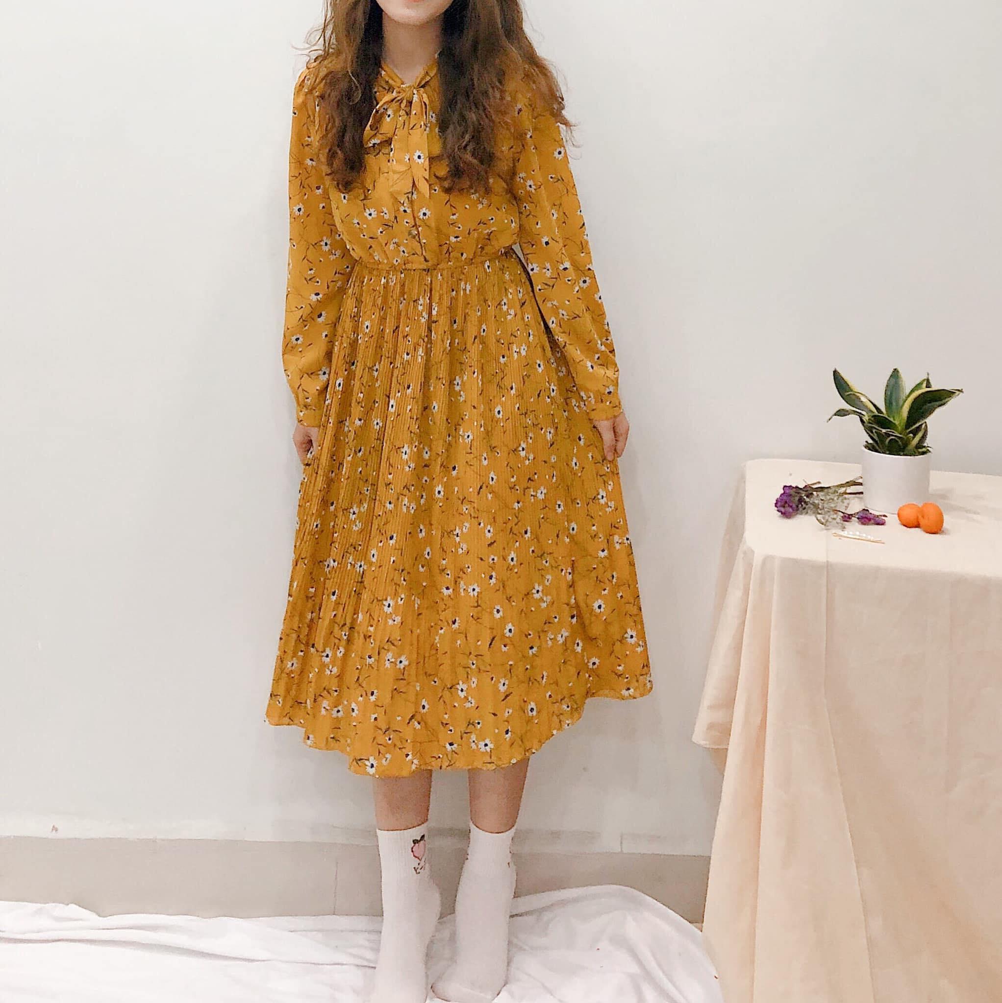 Váy vintage dài tay cho các nàng diện mùa thu se lạnh